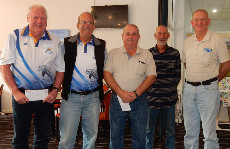 """Team of the Year"", Garry Porter, John Moore, Mark Nightingale, Stewart Sturrock at their presentation with Ross Barry, Vice President. ( absent; Doug Naylor Skip)."