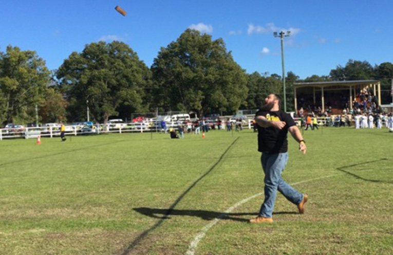 Kurt Livens, Australia's Brick Throwing Champion.  Kurt will be returning to this year's event to defend his title.