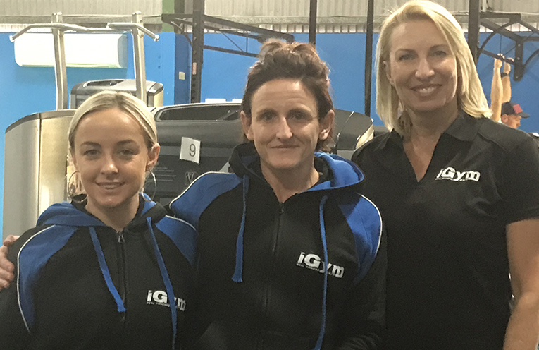 Kylie Morgan- Schneider, Carly Taylor and Donna Sizer are trainers at iGym who are leading the charge to raise funds. Photo by Marian Sampson.