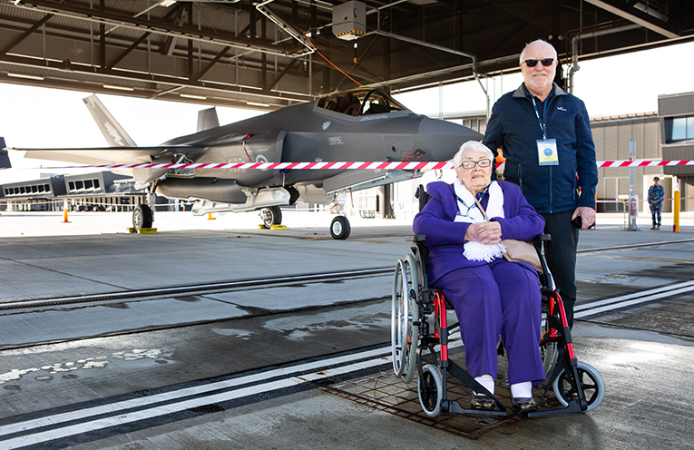Local community members from the Banksia Grove Village, Joyce Olsen (left) and Stuart Moane take the opportunity to look over an F-35A Joint Strike Fighter during an F-35A Community Day at RAAF Base Williamtown.  Photo by SGT Guy Young.