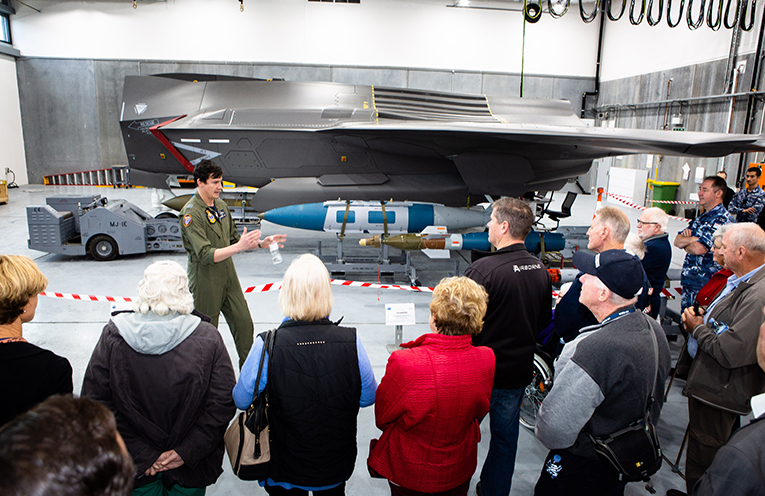 Members of the local community look over the F-35 Weapons Load Trainer during an F-35A Community Day at RAAF Base Williamtown. Photo SGT Guy Young.