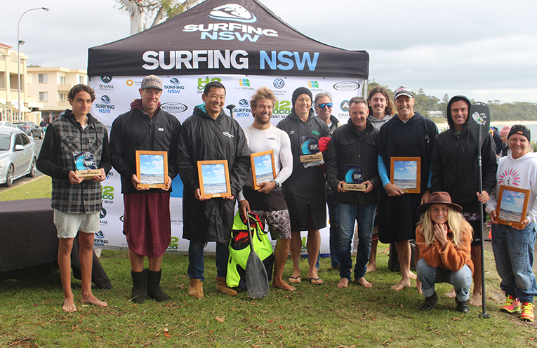 Celebrating the Stand Up Paddle (SUP) Marathon at Port Stephens. Photo by Ethan Smith Surfing NSW.
