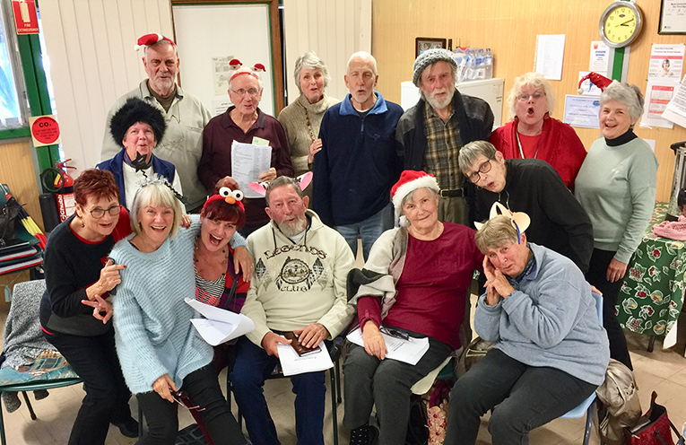 """""""Auntie Scrooge"""" cast relaxing after its first rehearsal"""
