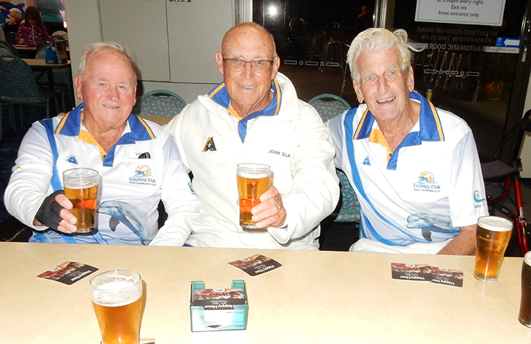Vic Garlick, John Slater and Tom Parkinson, proving age is no barrier to playing the game they love, after their quarter-final win in the Club Triples Championship.